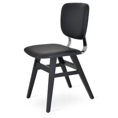 Hazal Upholstered Dining Chair Upholstery Color: Plain Black, Leg Color: Walnut