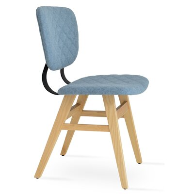 Hazal Upholstered Dining Chair Leg Color: Ash Natural, Upholstery Color: Smoke Blue