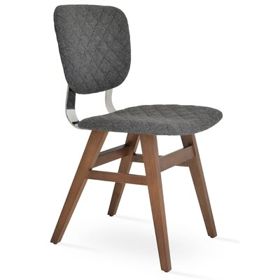 Hazal Upholstered Dining Chair Leg Color: Walnut, Upholstery Color: Silver