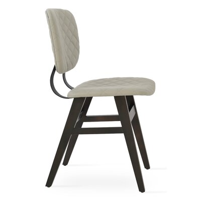 Hazal Upholstered Dining Chair Leg Color: Walnut, Upholstery Color: Quilted Light Gray