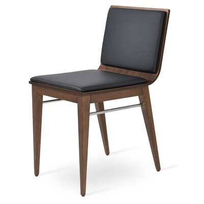 Corona Upholstered Dining Chair Upholstery Color: Black/American Walnut