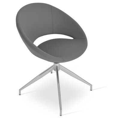 Crescent Spider Swivel Side Chair in Leatherette - Gray