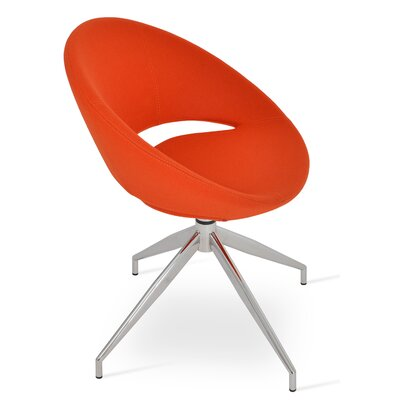 Crescent Spider Swivel Side Chair in Camira Wool - Orange