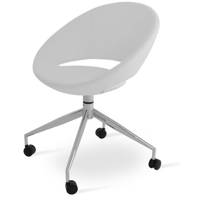 Crescent Spider Swivel Side Chair in Leatherette - White