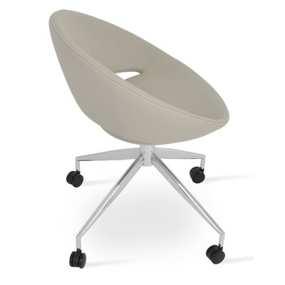 Crescent Spider Swivel Side Chair in PPM Leatherette - Bone