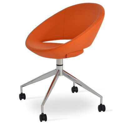 Crescent Spider Swivel Side Chair in PPM Leatherette - Orange