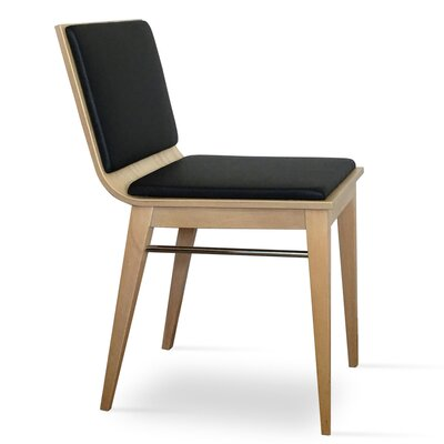 Corona Upholstered Dining Chair Upholstery Color: Black/Natural Ash