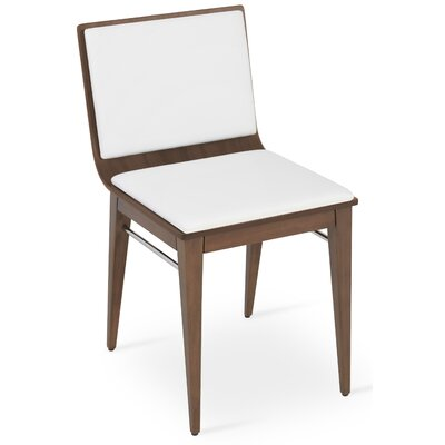 Corona Upholstered Dining Chair Upholstery Color: White/American Walnut