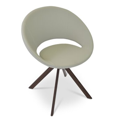 Camira Wool Beige - Gold Base Crescent Sword Upholstery Color: Silver, Leg Color: Walnut