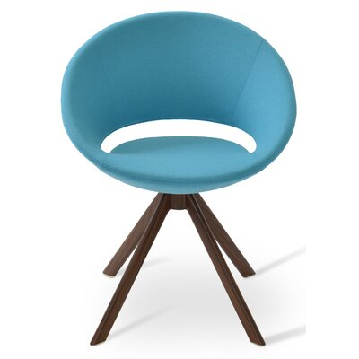 Crescent Sword Side Chair Upholstery Color: Sky Blue, Leg Color: Black