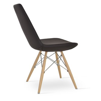 Eiffel Upholstered Dining Chair Color: Leatherette Brown