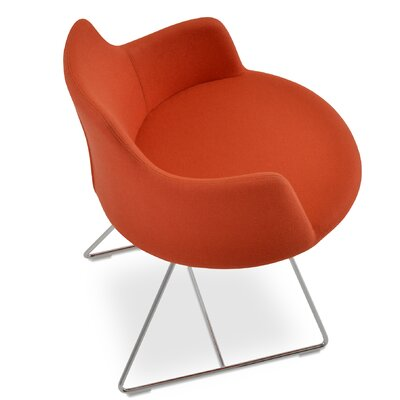 Dervish Genuine Leather Upholstered Dining Chair Color: Orange