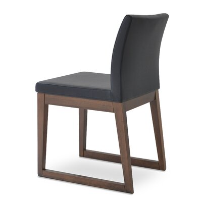 Aria Upholstered Dining Chair Color: Leatherette Light Gray
