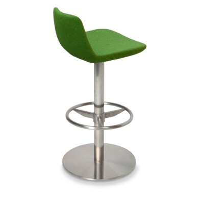 Pera Adjustable Height Swivel Bar Stool Finish: Brushed Stainless Steel, Upholstery: Organic Wool Fabric - Pistachio