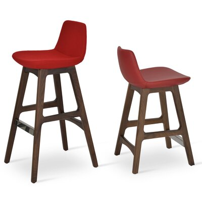Pera 29 Bar Stool Leg Color: American Walnut, Upholstery: PPM - Red