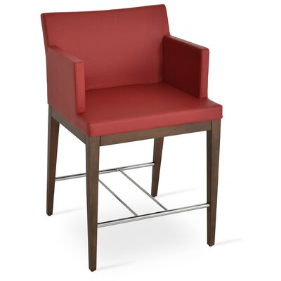 Soho 24.5 Bar Stool Leg Color: Walnut, Upholstery: Leatherette-Red
