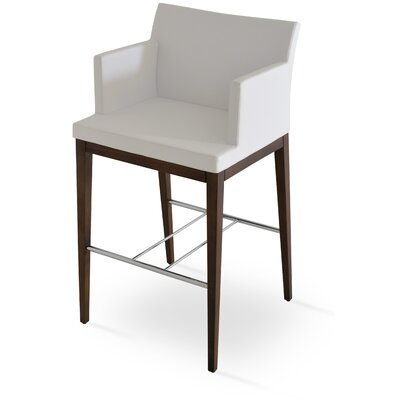 Soho 30 Bar Stool Leg Color: Walnut, Upholstery: Leatherette-Cream