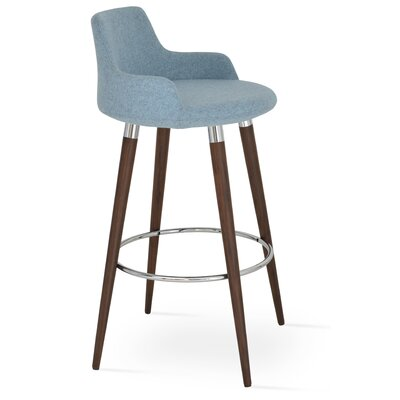 Dervish 29.5 Bar Stool Leg Color: Walnut, Upholstery: Wool-Sky Blue