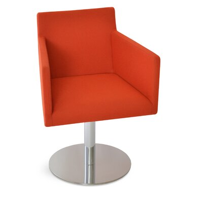 Harput Round Swivel Armchair Upholstery: Orange