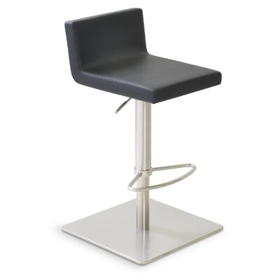 Dallas Adjustable Height Swivel Bar Stool Upholstery: Leatherette - Black (901) - SS Brushed