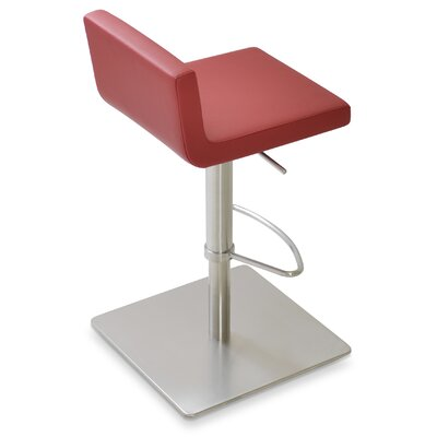 Dallas Adjustable Height Swivel Bar Stool Upholstery: Leatherette- Red (260) - SS Brushed
