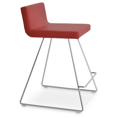 Dallas 22 Bar Stool Upholstery: Leatherette - Red (260) - Counter/Chrome