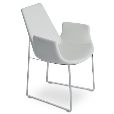 Eiffel Arm Sled in Leatherette - White Color: Stainless Steel