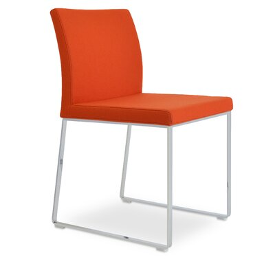 Aria Upholstered Dining Chair Color: Orange