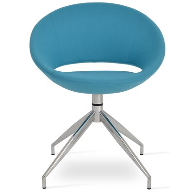 Crescent Spider Swivel Upholstered Side Chair Color: Turquoise