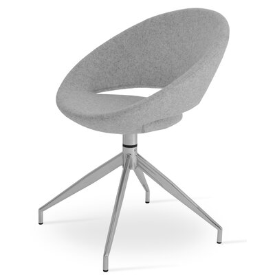 Crescent Spider Swivel Upholstered Side Chair Color: Silver