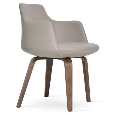 Dervish Plywood Chair Upholstery Color: Bone, Frame Color: American Walnut