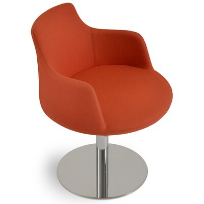 Dervish Round Chair Upholstery Color: Orange, Frame Color: Stainless Steel Brushed