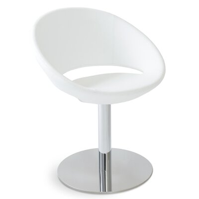 Crescent Round Leatherette Upholstered Dining Chair Upholstery Color: White PPM Leatherette