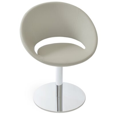 Crescent Round Leatherette Upholstered Dining Chair Upholstery Color: Bone PPM Leatherette