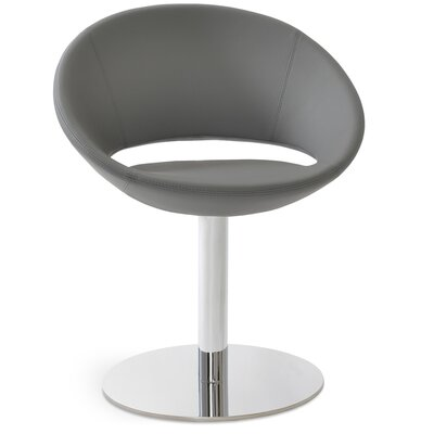 Crescent Round Leatherette Upholstered Dining Chair Upholstery Color: Gray PPM Leatherette