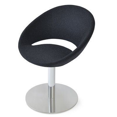 Crescent Round Upholstered Dining Chair Upholstery Color: Charcoal Wool