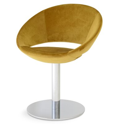 Crescent Round Upholstered Dining Chair Upholstery Color: Velvet Gold