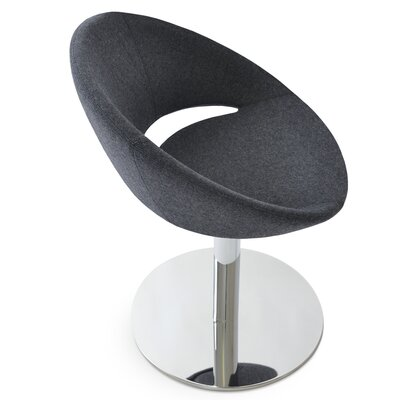 Crescent Round Upholstered Dining Chair Upholstery Color: Camira Wool Dark Gray