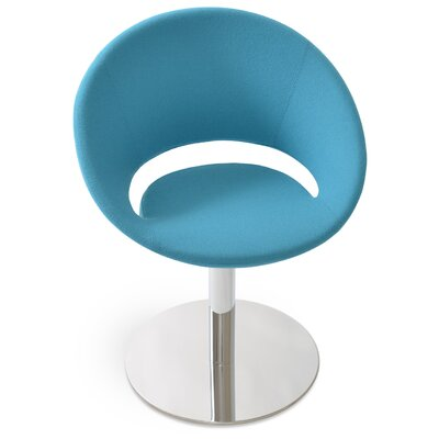 Crescent Round Upholstered Dining Chair Upholstery Color: Camira Wool Turquoise