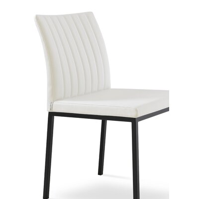 Zeyno Metal Side Chair Upholstery Color: Leatherette Light Gray, Leg Color: Stainless Steel