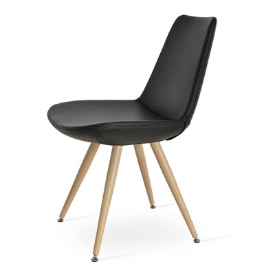 Eiffel Star Genuine Leather Upholstered Dining Chair in Black Genuine Leather Color: Natural Veneer Steel