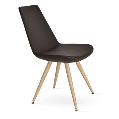Eiffel Star Genuine Leather Upholstered Dining Chair in Brown Leatherette Color: Natural Veneer Steel