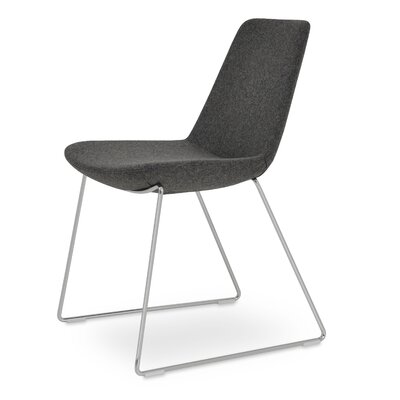 Eiffel Handle Back Genuine Leather Upholstered Dining Chair in Dark Gray Camira Wool Color: Stainless Steel Polished