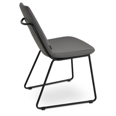 Eiffel Handle Back Genuine Leather Upholstered Dining Chair in Gray PPM Leatherette Color: Black Powder