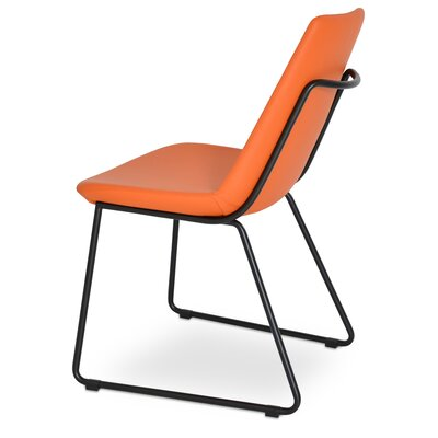 Eiffel Handle Back Genuine Leather Upholstered Dining Chair in Orange PPM Leatherette Color: Black Powder