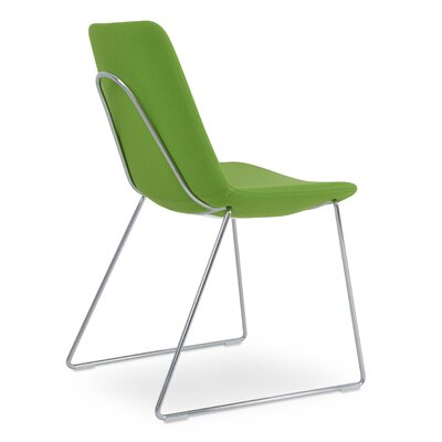 Eiffel Handle Back Genuine Leather Upholstered Dining Chair in Pistachio Camira Wool Color: Solid Metal