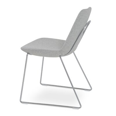 Eiffel Handle Back Genuine Leather Upholstered Dining Chair in Silver Camira Wool Color: Solid Metal