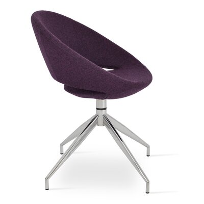 Crescent Spider Swivel Upholstered Side Chair Color: Deep Maroon