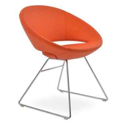 Crescent Wire Papasan Chair Upholstery: PPM Leatherette Orange