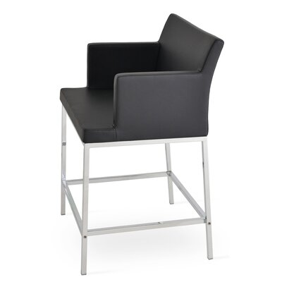 Soho 24.5 Bar Stool Upholstery: Leatherette-Black
